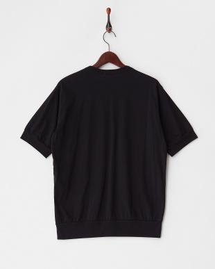 ブラック  スウェット風コットンTシャツ見る